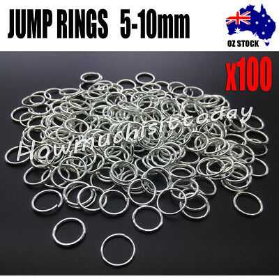 100x Jump Rings Split Close Unsoldered Brass, Silver Color  5mm 6mm 7mm 8mm 10mm