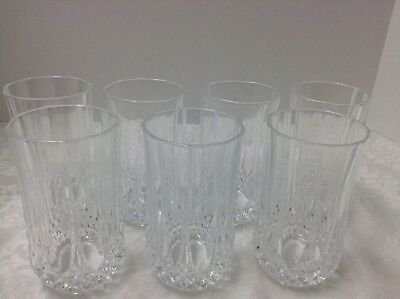 7 Cristal D'Arques Crystal 10 oz. Flat Tumblers In The Longchamp Pattern, France
