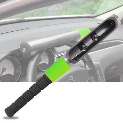 Car Baseball Bat Style Steel Steering Wheel Security Anti-theft Locks Green UK