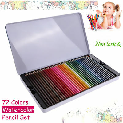 72X Watercolour Non-toxic Pencils Tin Water Color Soluble Art Drawing&Painting