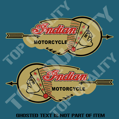 VINTAGE INDIAN Decal Sticker Mirrored Pair Vintage Retro Garage Bobber Stickers
