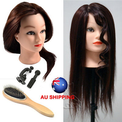 80% Real Human Hair Training head Hairdressing Practice Mannequin + Steel Comb