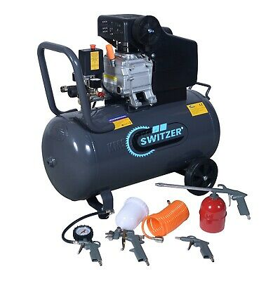 Switzer Mobile Air Compressor - 50L Litre 2.5hp 8 BAR - With 5PC Spray Kit AC004