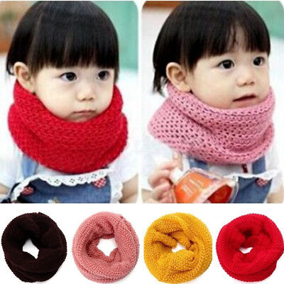 Winter Fall Warm Scarf Kids Baby Girls Snood Shawl Ring Neck Wraps Knit Scarves