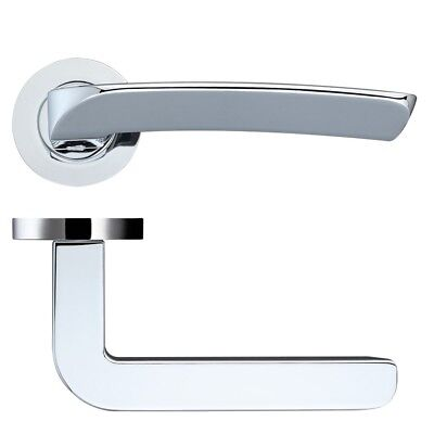 Rosso Maniglie Aquila Lever Door Handle on Rose - Polished Chrome