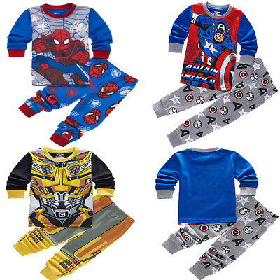 Cartoon Toddler Boy Pajamas Set Nightwear Transformers Superhero Pjs Outfit 2-7T