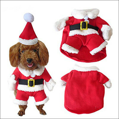 Pet Dog Cat Santa Claus Christmas Cosplay Costume Hoodies Puppy Xmas Clothes