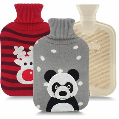 Classic Rubber Hot Water Bottle and 2 Cute Animal Embroidery Knit Cover Winter