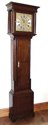 Antique Brass 8 Day Oak & Mahogany Longcase Grandfather Clock INGLEBY HOLYWELL