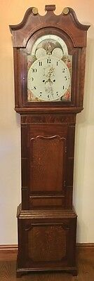 Antique Rolling Moon Oak & Mahogany Longcase Grandfather Clock FLETCHER CHESTER