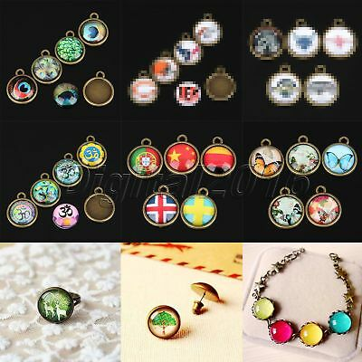 20mm Round Glass Cabochon Dome Flat Back Cover Antique Alloy Jewelry Accessories