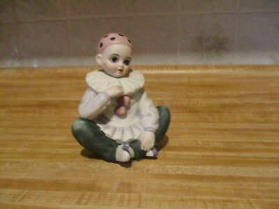 Vintage Porcelain Bisque Child Clown Rotating Music Box, Mann, Japan.