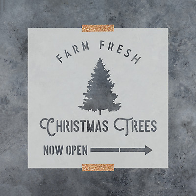 Farm Fresh Christmas Trees Stencil - Perfect Holiday Stencil for Crafts & Signs