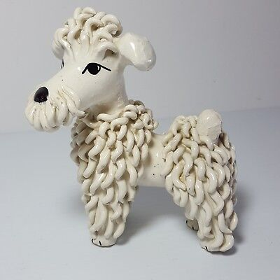 "Spaghetti Poodle Glazed Pottery Figurine Made in Italy Mid Century MCM 5"" Tall"
