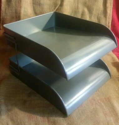 Vintage Globe Wernicke Metal 2 Tier Gray Desk Top In/out Paper Holder Tray Lot B