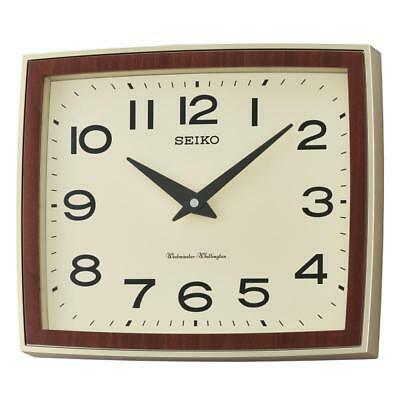 Seiko QXD211S Westminster/Whittington Dual Chime Brown Case Wall Clock - New