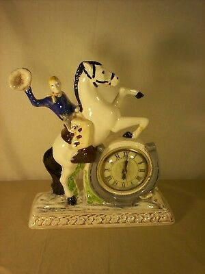 Vintage  Ceramic Cowboy Clock With Lux Electric Clock Movement