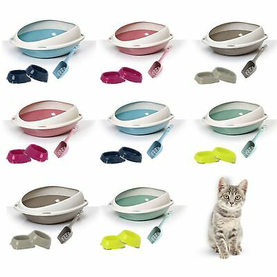 High Rim Large or  XL Jumbo Cat Litter Tray Bundle + 2 Bowls + Easy Litter Scoop