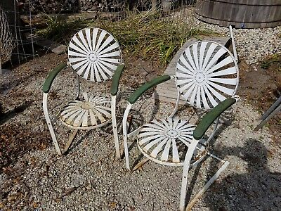 2 Vintage Troy, Ohio Sunshade Metal Spring Outdoor Chairs