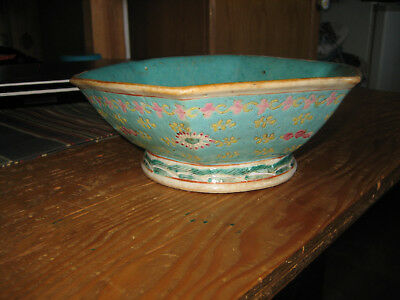 A Chinese Qing Dynasty Famille Rose Porcelain Bowl,footed with 6 sides