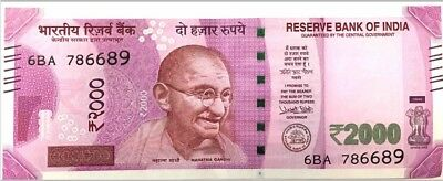 India 2000 Rupees - New denomination, 2016 banknote, Almost Uncirculated/ AUNC