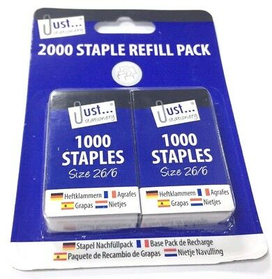 2000 x Staples 26/6 Fits Rexel No 56 Boxed 1000 Standard Refill Pack UK SELLER