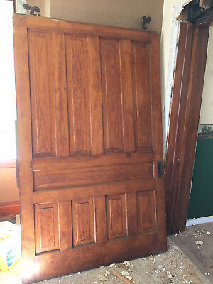 "HUGE VINTAGE HEART of PINE POCKET DOOR w/ HARDWARE 1885  55"" X 89 5/8"" (9834-7)"