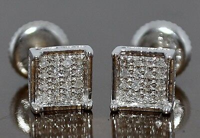 281e51dd6 Diamond Stud Earrings Screw Back 0.1Ct Micro Pave White Gold Finish  Princess Cut