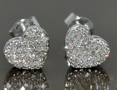 d56751f6f Hearts Diamond Stud Earrings 0.25Ct 10K White Gold Screw Backs Micro Pave  8Mm