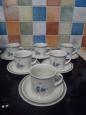 Royal Doulton Lambethware Hill Top Tea Cups And Saucers X6