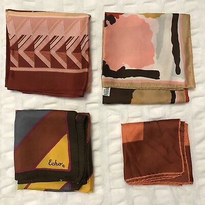 4 Scarves Square Copper Rust Echo Orange Silk Rain Scarf Vtg Lot Ladies Silk