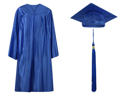 Royal Blue Shiny Graduation Cap Gown and Tassel - 13 sizes available