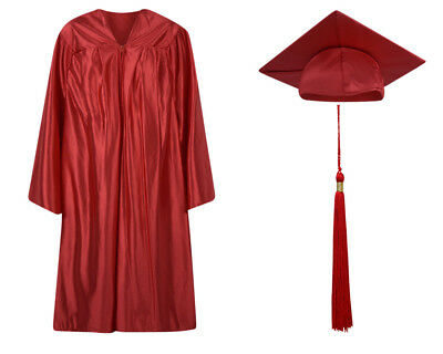 Red Shiny Graduation Cap Gown and Tassel - 13 sizes available