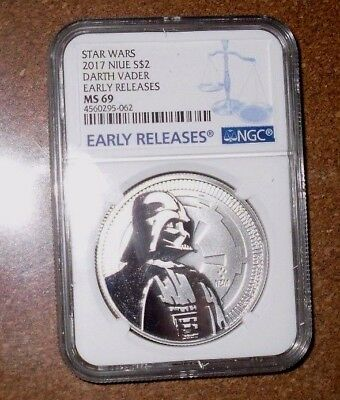 2017 Niue 1oz Silver Star Wars Darth Vader Coin NGC MS69  Early Releases