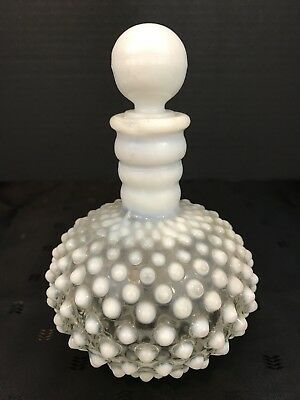 Vintage FENTON HOBNAIL French Opalescent Milk Glass Perfume Bottle with Stopper