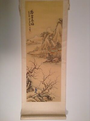 Vintage Chinese Scroll Watercolour Painting Mountains Signed