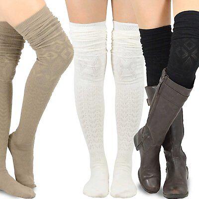 Teehee Women's Fashion Extra Long Cotton Thigh High Socks - 3 Pair Pack