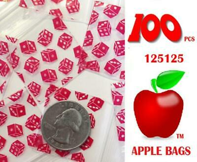 NEW Apple ZIPLOCK Zip Lock Bags Small 100 Pcs DICE Design 125125 32mm X 32mm