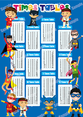 Times Tables Poster Maths Educational Wall Chart | Boys Kids Childs A4 / A3