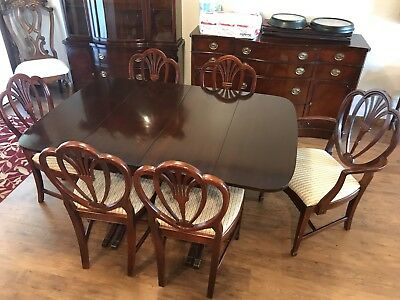 Drexel New Travis Court Dining Table, Chairs, Buffet And Chine Cabinet Rare 1949