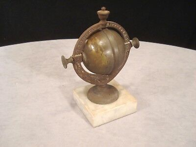 Antique Victorian ROTATING Brass & Cast Iron Hotel Front DESK BELL w/Marble Base