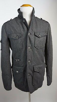 Affliction Gray Military Style Jacket Mens Size M Medium Large Wool Blend