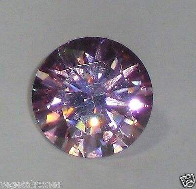 Moissanite rose intense en rond facetté de 2.86Cts
