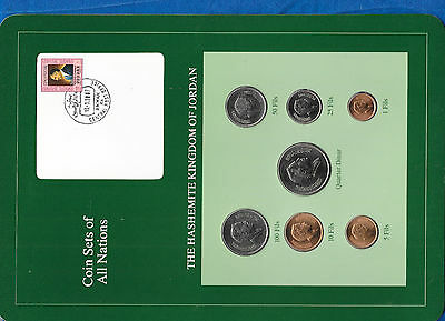 Coin Sets of All Nations Jordan w/card 1978-1984 UNC quarter Dinar 1981