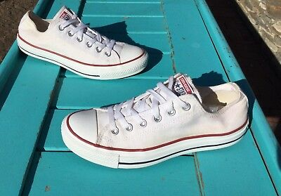 $55 Converse All Star Low Top White Canvas Sneakers Women Size 8.5 US