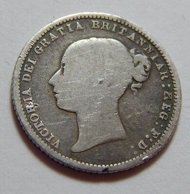 1872 UK Sterling Silver 6 Pence Coin Queen Victoria Young Head - Die #35