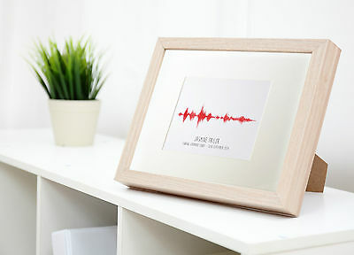 Personalised sound wave - bespoke White, Black or Oak framed print picture gift