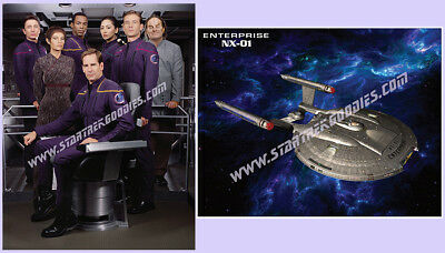 "TWO PICTURES Star Trek: Enterprise CREW & NX-01 Cool to Autograph 11""x8½"" MINT!"