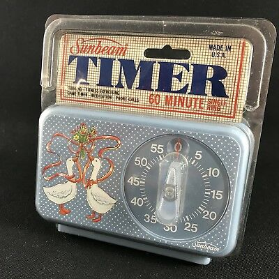 Vintage Retro Sunbeam 60 Minute Kitchen Timer with Ducks Or Geese