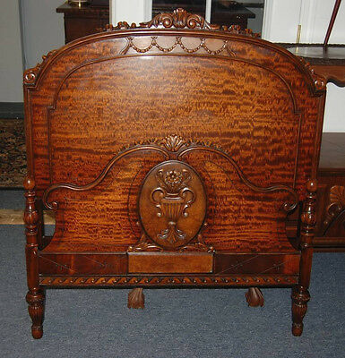 Antique 1930's Flame Mahogany Satinwood Burl Walnut Carved Twin Bed Frame